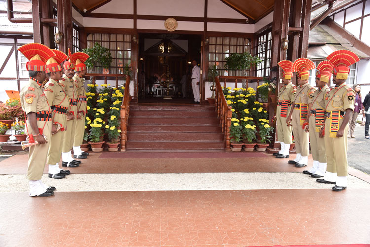 Parade of Guards waiting for the arrival of the Hon'ble Governor of Meghalaya, Shri Tathagata Roy at Raj Bhavan, Shillong on the 15th August 2019
