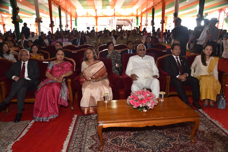 Hon'ble Governor Shri Tathagata Roy, the First Lady Smt Anuradha Roy and several important dignitaries at the 73rd Independence Day Celebration Function at Raj Bhavan, Shillong on the 15th August 2019
